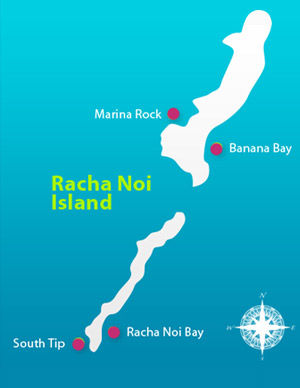 Racha Islands Diving - Racha Noi dive spots map