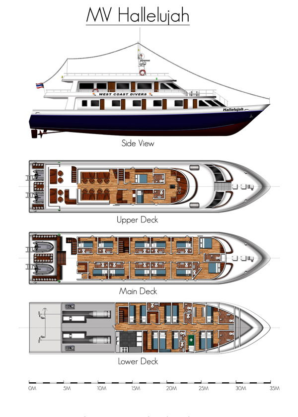 MV Hallelujah Liveaboard layouts